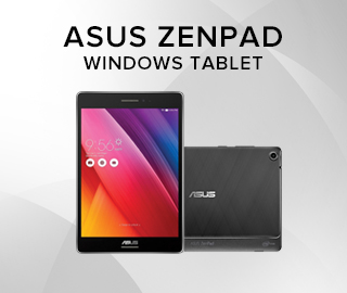Picture of a tablet. Asus Zenpad Windows Tablet. Click to shop.