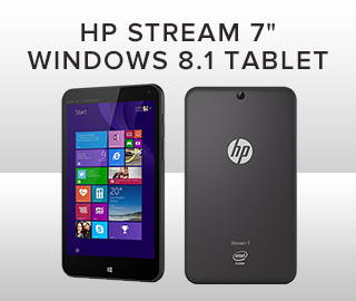 Front and  back picture of Tablet. Click to shop HP Stream 7 inch Windows 8.1 Tablet.